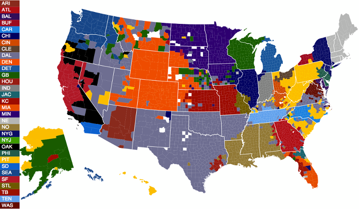NFL Facebook Fans by County